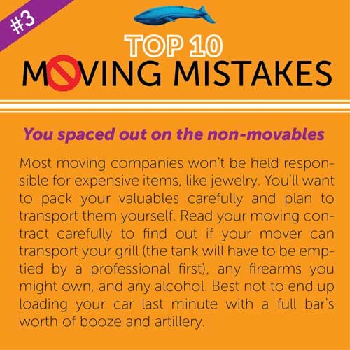 Top 10 Moving Mistakes explained on the non-movables item