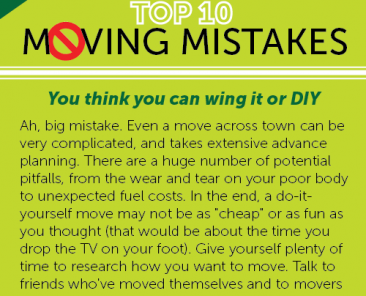 Top 10 Moving Mistakes customers make during a move
