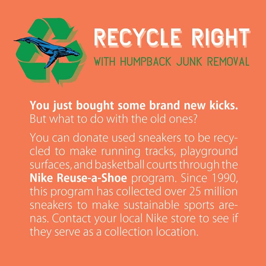 Recycle used sneakers with humpback junk removal