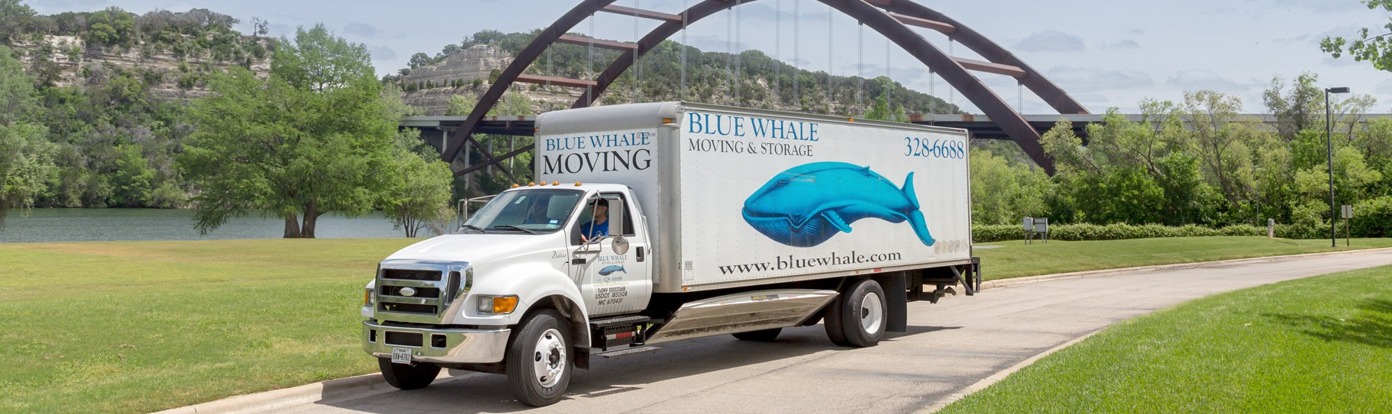Blue Whale Moving Company truck in Austin, TX
