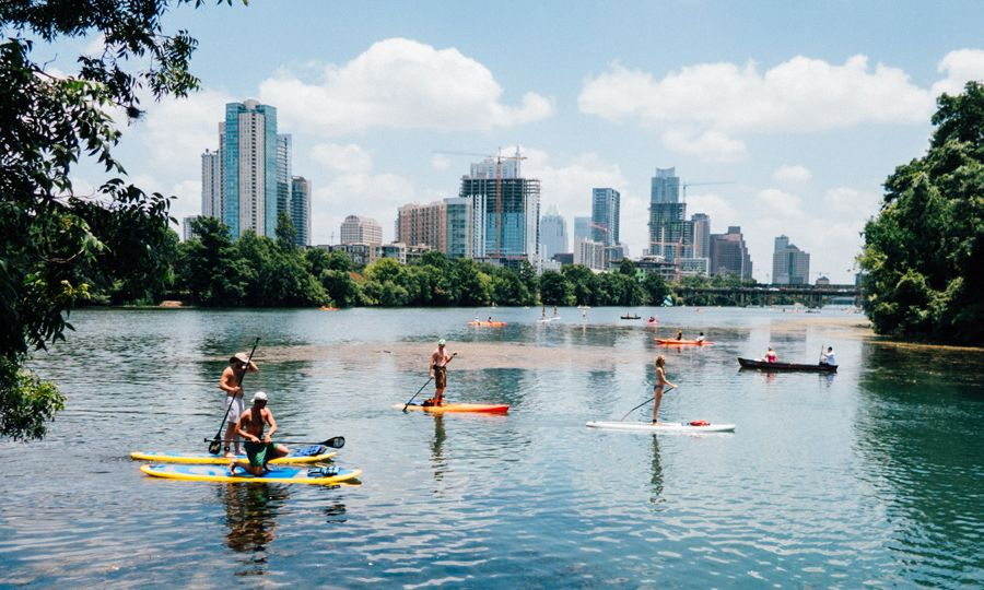 paddleboarding on lake austin