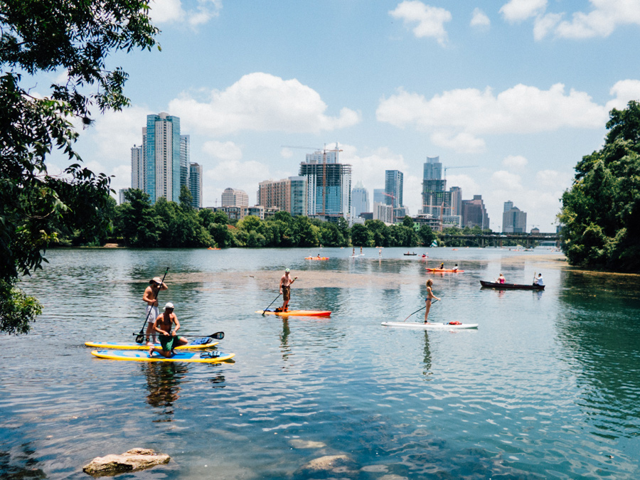 paddleboarding on lake austin